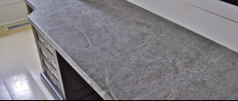 Soapstone countertop that was installed in a nh kitchen