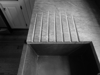Picture of soapstone drain board.